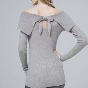 WHBM BOW-BACK SWEATER METALLIC GRAY SILVER